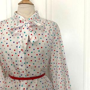 LAURA MAE Vintage White Polka Dot Ascot Blouse
